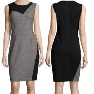 Elie Tahari Tweed Jersey Two Tone Sheath Dress